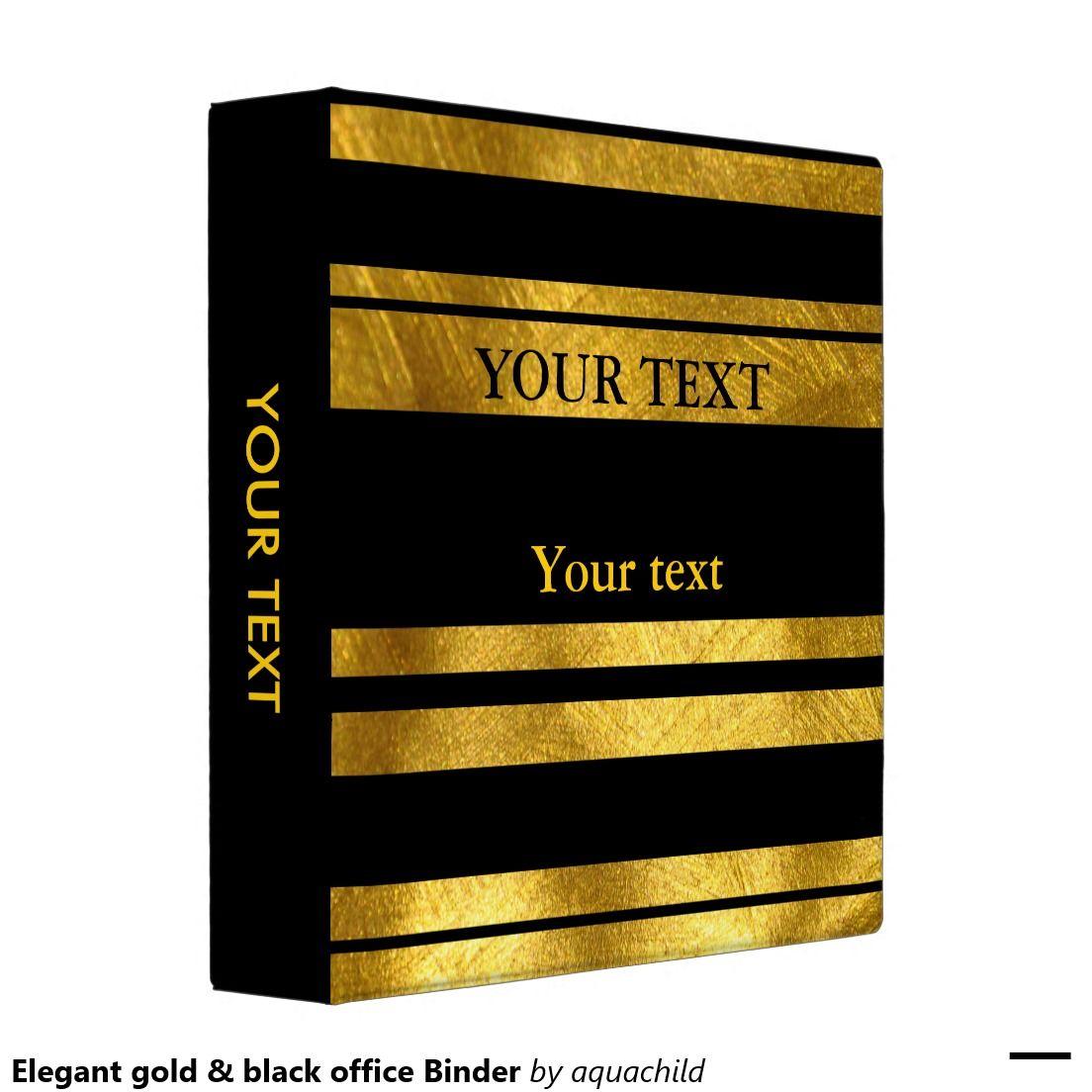 Elegant Gold & Black Office Binder
