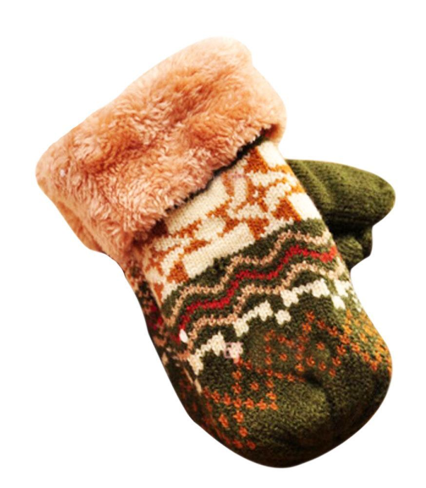 Beautiful Warm Velvet Gloves Green Kids Winter Thicken Mittens