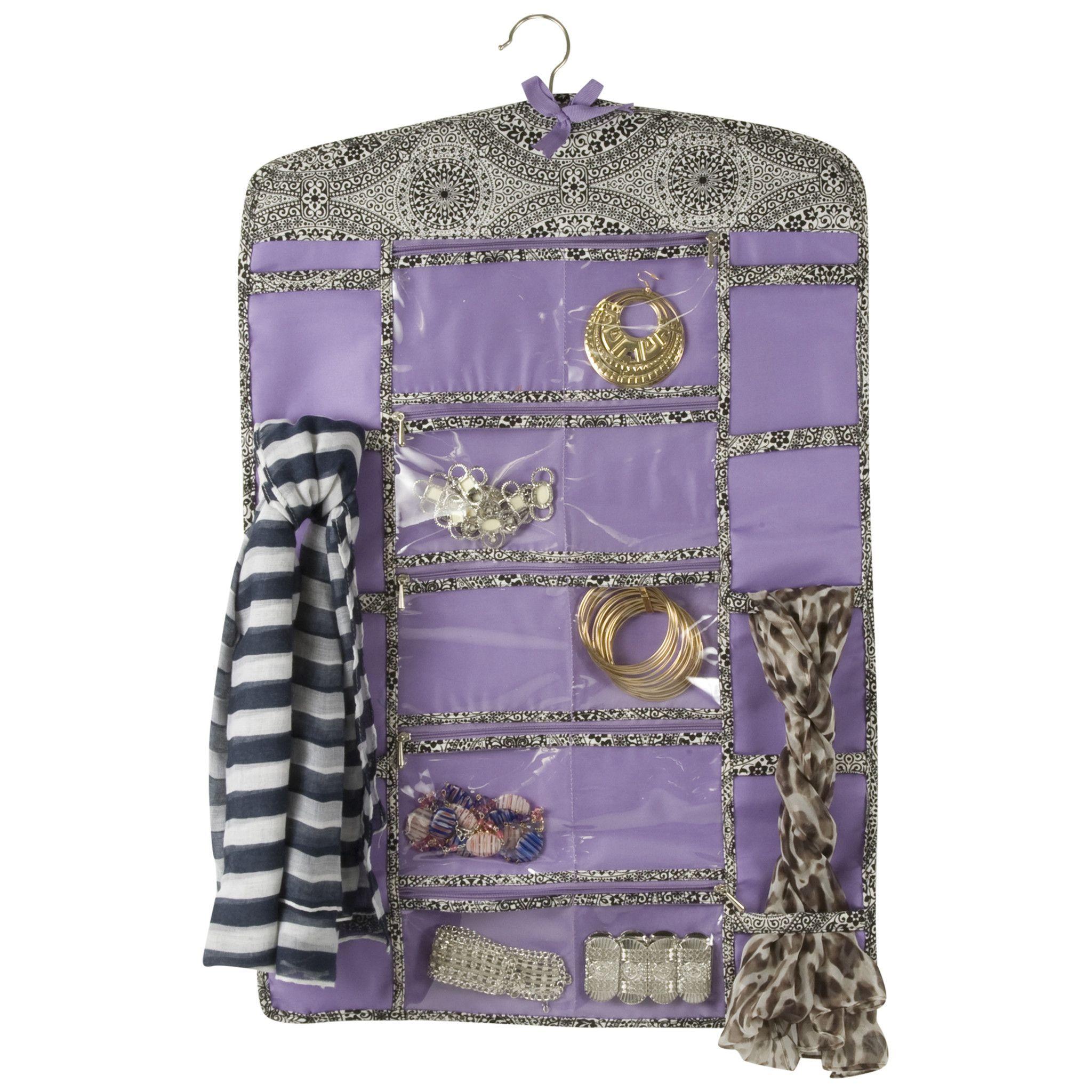 20 Zippered Compartment Hanging Jewelry Storage Scarf Organizer