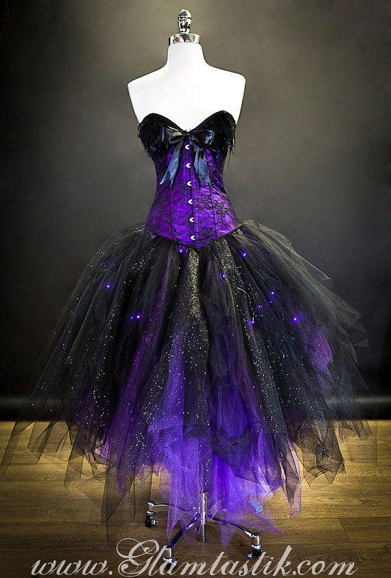 Personalizado tamaño iluminan pluma de encaje morado y negro | Bruja ...