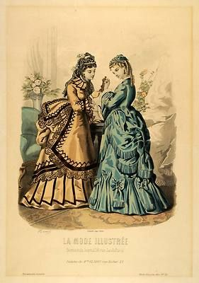 1872 Print Paris France Parisian Victorian Fashion Dresses Bustle Hats Headpiece | eBay