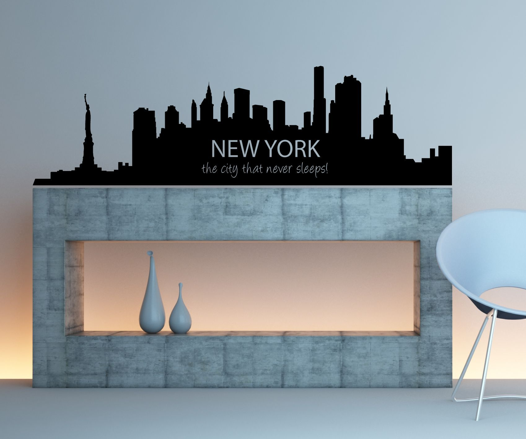 New york city skyline the city that never sleeps silhouette vinyl the city that never sleeps silhouette vinyl wall art stickers decal amipublicfo Image collections