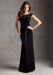 Online Shop 2014 Free Shipping New Custom Scoop Shortsleeve Sashes Black Lace Bridesmaid Dresses|Aliexpress Mobile