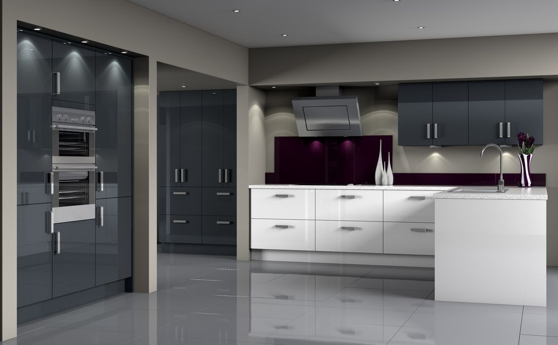 Contemporary Kitchen Blue Graphite And Acrylic White Cabinets Grey Kitchen Designs Symphony Kitchen Kitchen Fittings