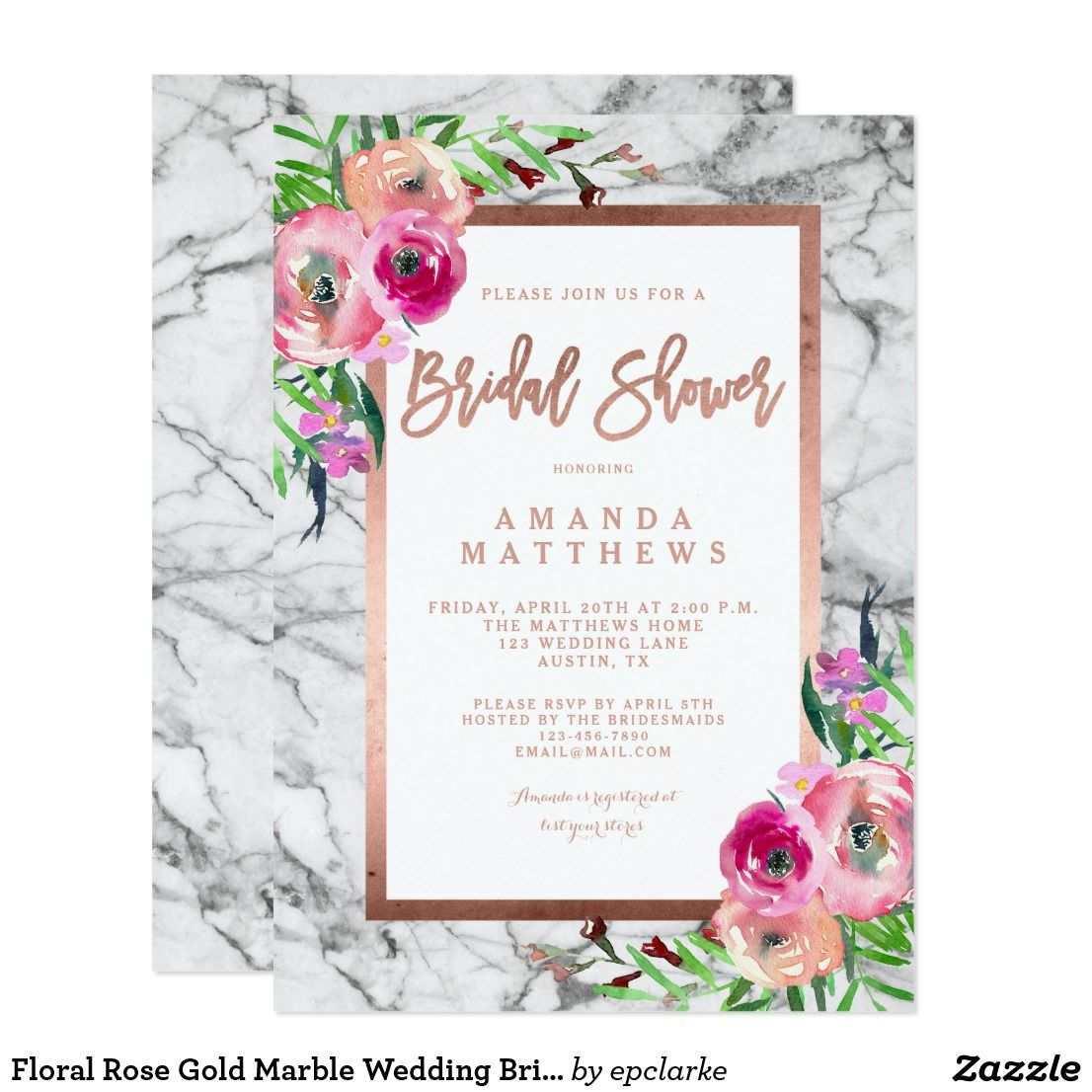 Floral Rose Gold Marble Wedding Bridal Shower Card Beautiful