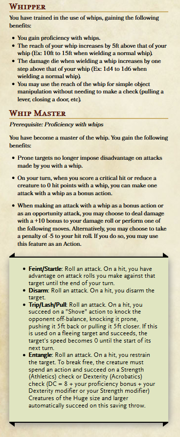 Feats For The Whip Users Of D D Requesting Feedback Unearthedarcana Dnd Dragons D D Dnd Feats