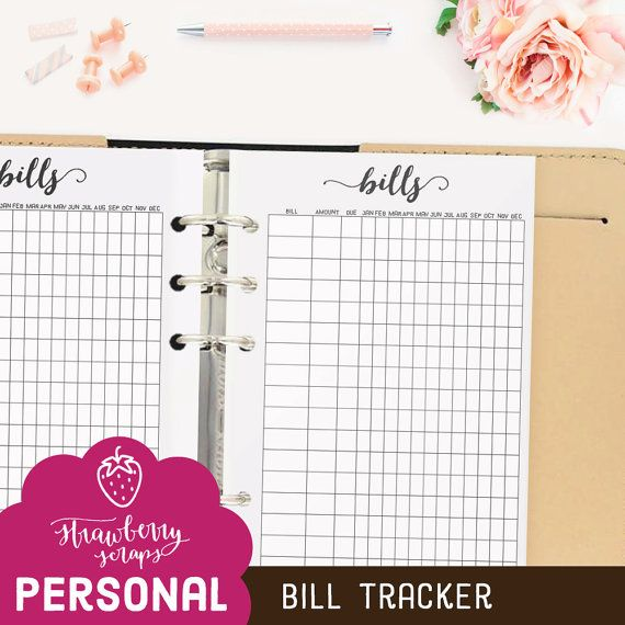 Bill Planner Inserts Bill Tracker Bill Pay  Bill Due  Bills