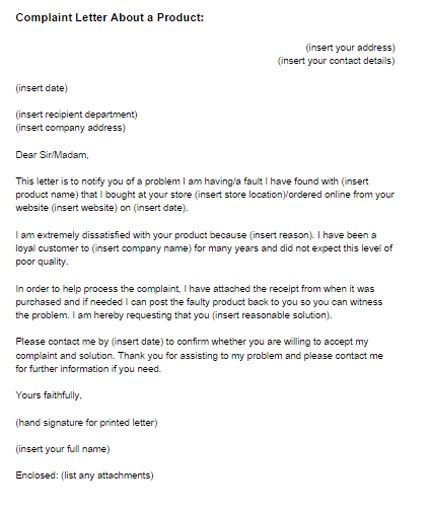 complaint letter about product example just templates claim - sample product description template