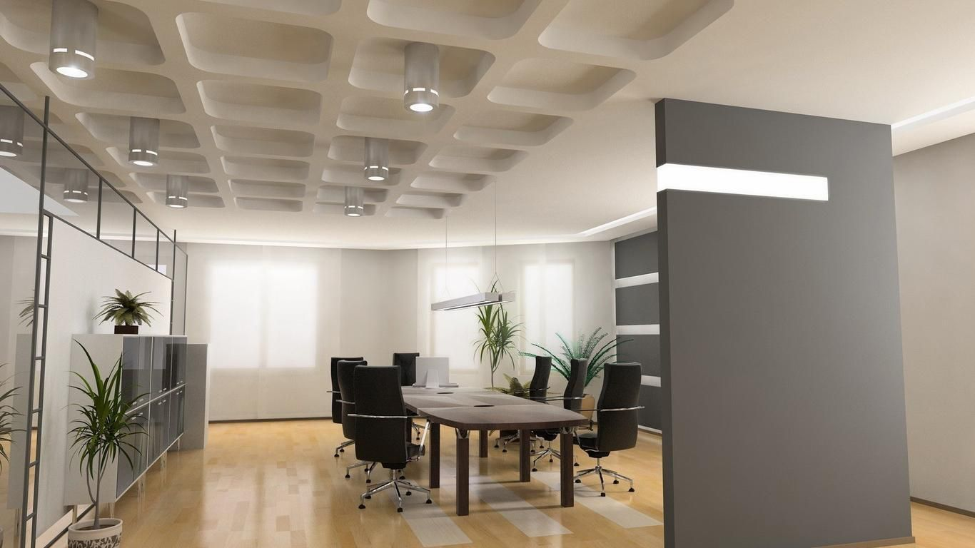 Gorgeous grey and white wall colors for modern office for Office design colors