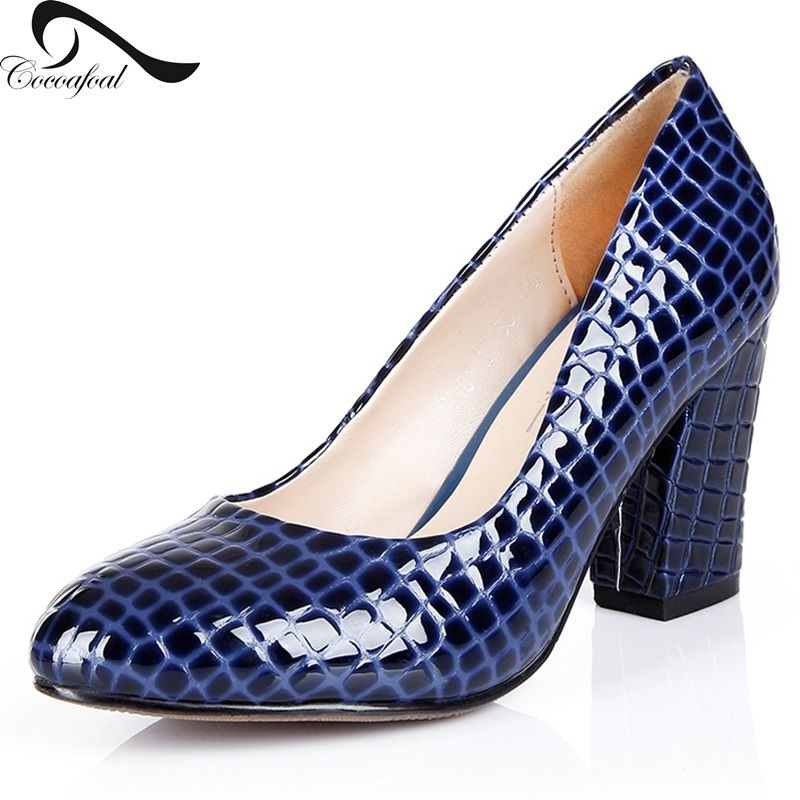 9b2106b2943 Women Pumps Shoes Size 39 2017 Thick Heels Shoes Fashion Leisure Pointed Toe  genuine Leather Blue