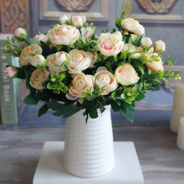 Artificial Flower Arrangement, Green/Teal Dahlias Cream Colored