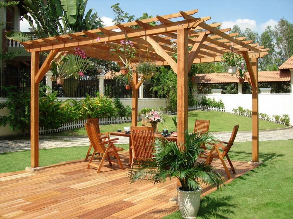Gartengestaltung Pergola Holz Sitzgruppe
