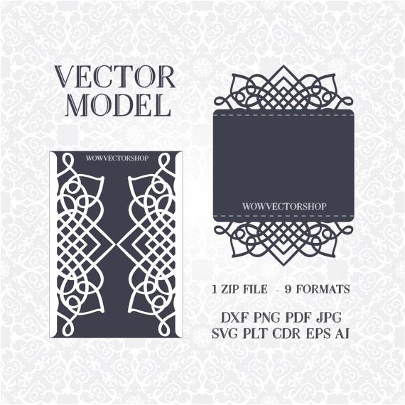 Laser cut envelope template for wedding invitation or greeting card laser cut envelope template for wedding invitation or greeting card printable papercut 5x7 inch plt dxf svg eps cdr file stopboris Images