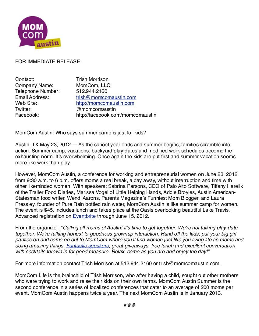 MomComAustin Summer press release