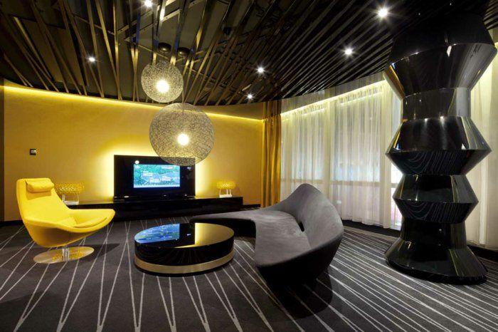 Einrichtungsideen Wohnzimmer Farbe Ocker Farbgestaltung Wohnzimmer