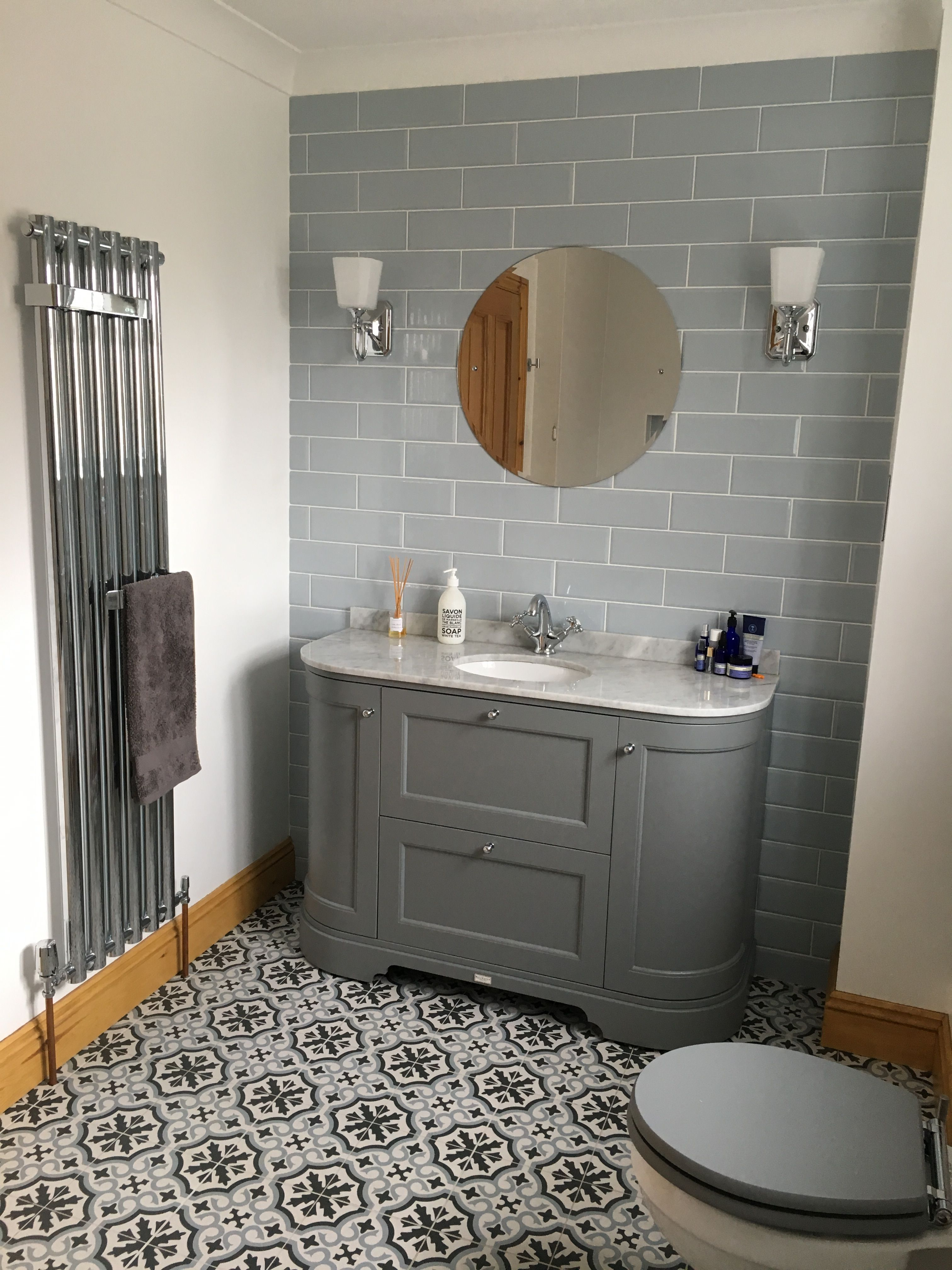 Burlington Curved Vanity Unit Grey With Grey Marble Tiles From Topps Tiles Bathroom Vanity Trends Topps Tiles Bathroom Decor