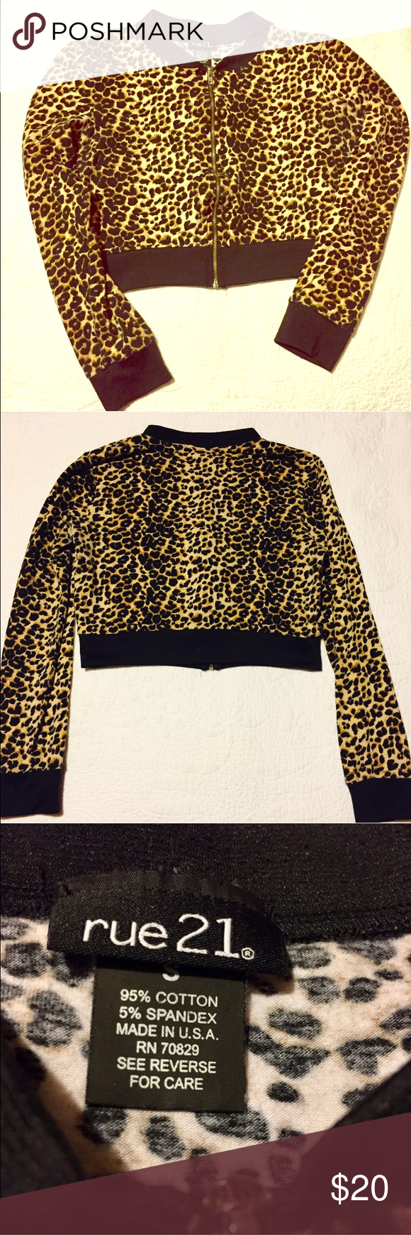 Cropped long sleeved zip down Cheetah top Cheetah print, gold zip up crop long sleeved top. Super cute, size small, MINT CONDITION! Rue 21 Tops Crop Tops
