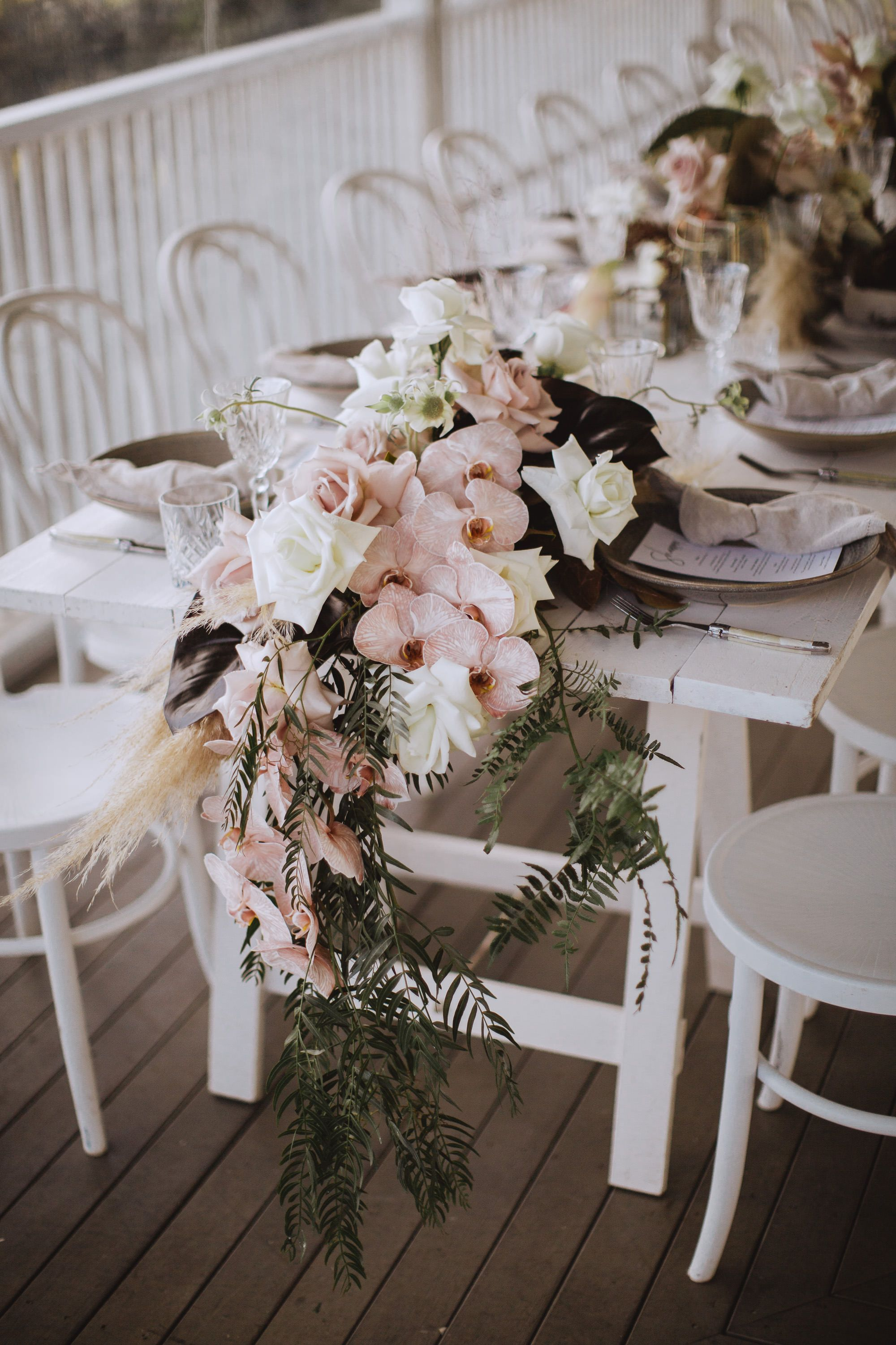 All white & pastel blooms reception styling on the verandah at byronviewfarm is part of Wedding -