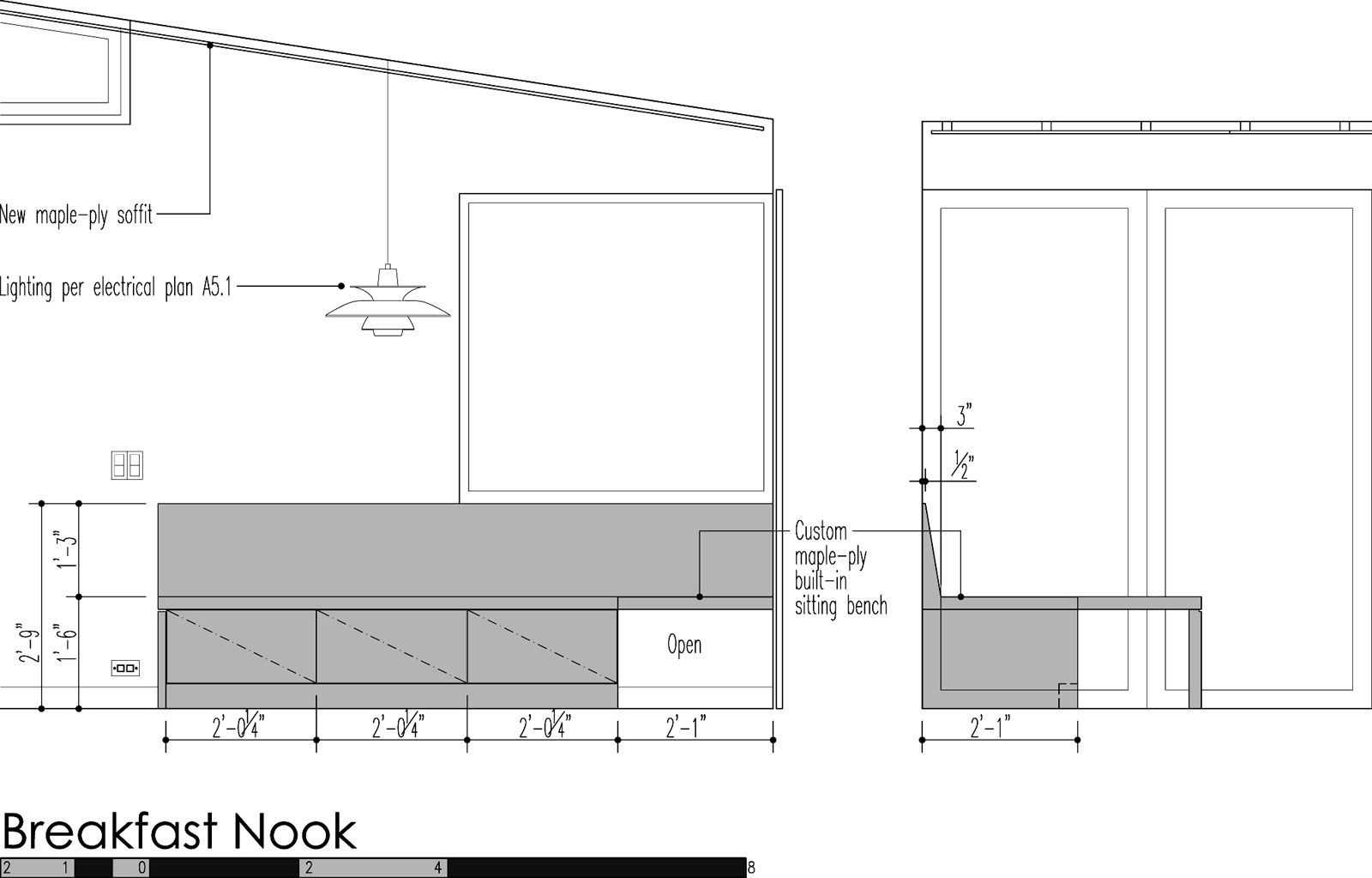 Breakfast nook elevation dimensions.