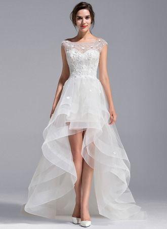 A-Line/Princess Scoop Neck Asymmetrical Tulle Lace Wedding Dress ...