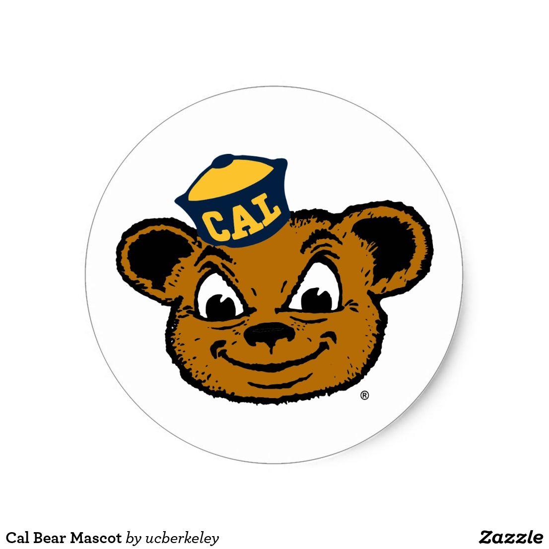 Cal Bear Mascot Classic Round Sticker Cal Bears Mascot Round Stickers [ jpg ]