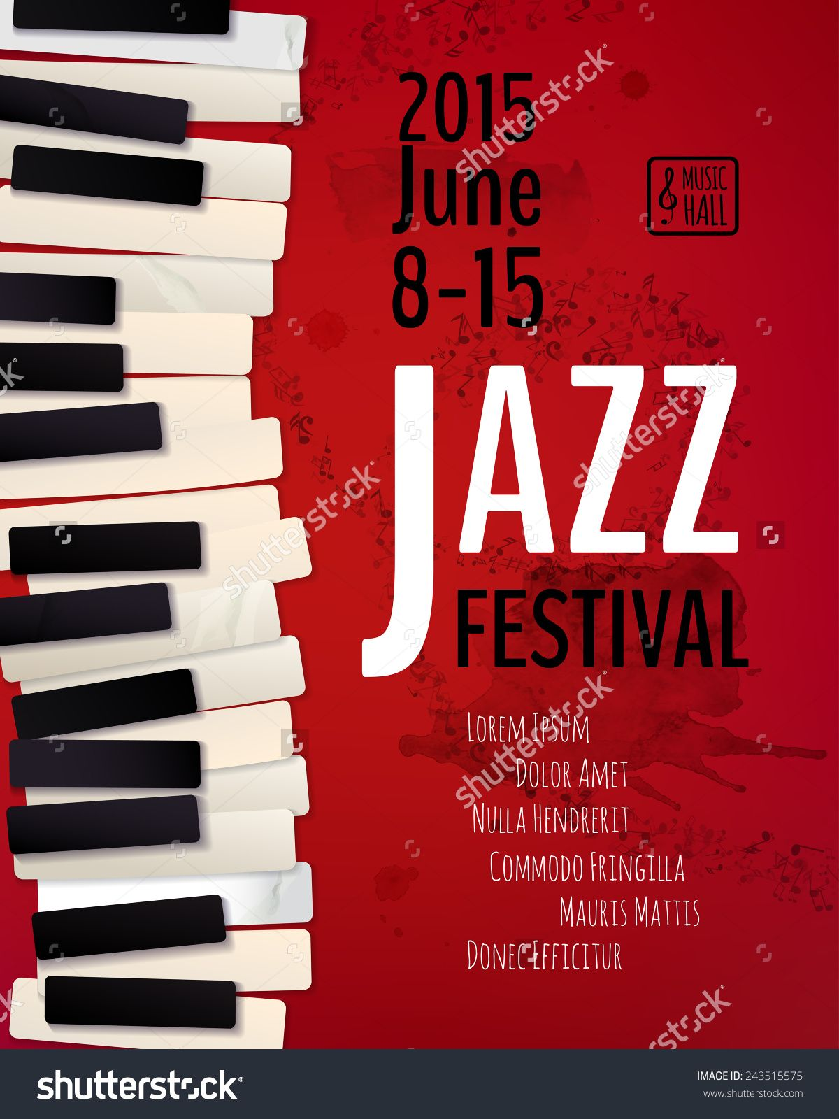 Poster design notes - Jazz Music Festival Poster Background Template Keyboard With