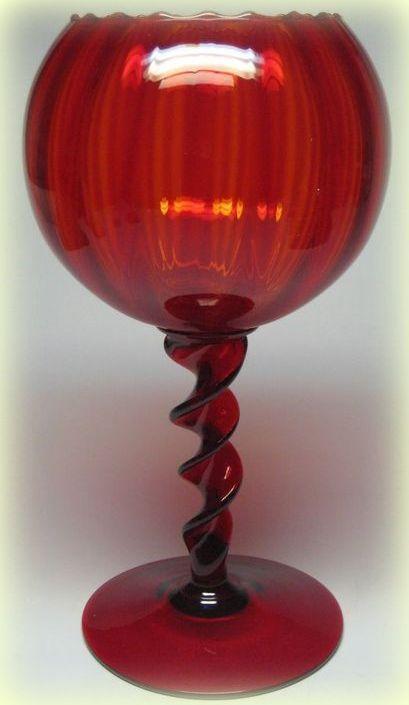 ITALIAN MURANO EMPOLI GLASS RUBY CRANBERRY RED SCALLOPED OPTIC TWIST GOBLET VASE