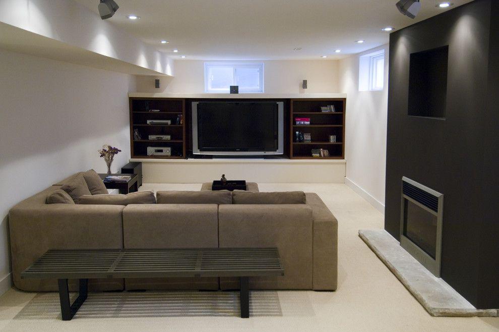 Tv Under The Window Small Basement Design Basement Design