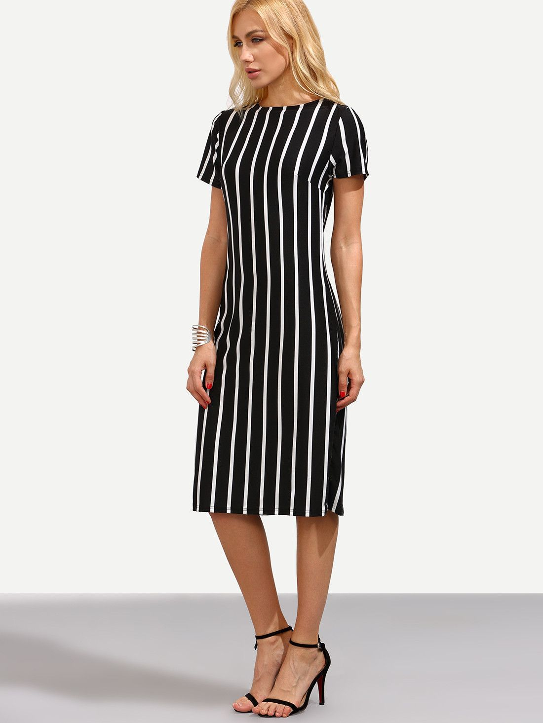 dbfe3ad5a4f Fabric  Fabric is very stretchy Season  Summer Type  Pencil Pattern Type  Striped  Sleeve Length  Short Sleeve Color  Black Dresses Length  Midi Style  Work  ...