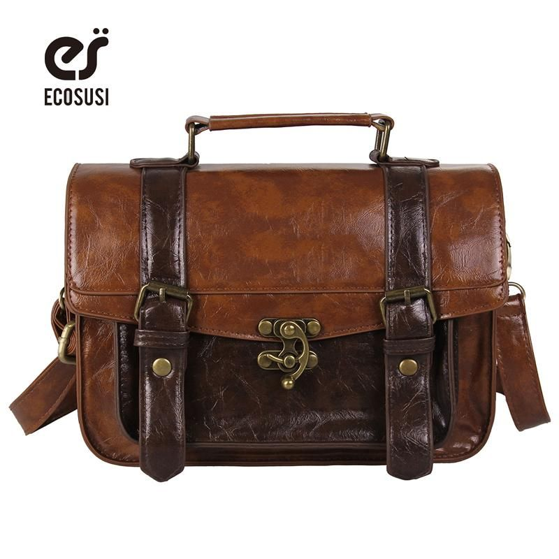 Ecosusi Preppy Style Women Briefcase Classic Leather Satchel Handbags