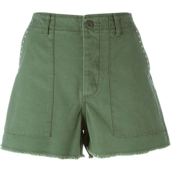 Saint Laurent studded army shorts ($600) ❤ liked on Polyvore featuring  shorts, green