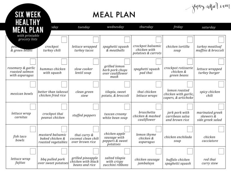 Six week healthy meal plan with free printable grocery lists - meal calendar
