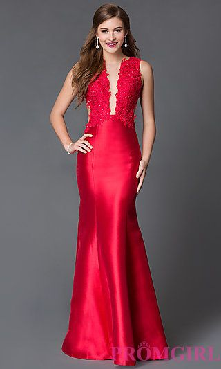 08919ab548 Open Back Illusion Lace Xtreme Prom Dress at PromGirl.com