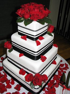 red Wedding Cake Designs | Fondant Black/Red Wedding Cake | red ...