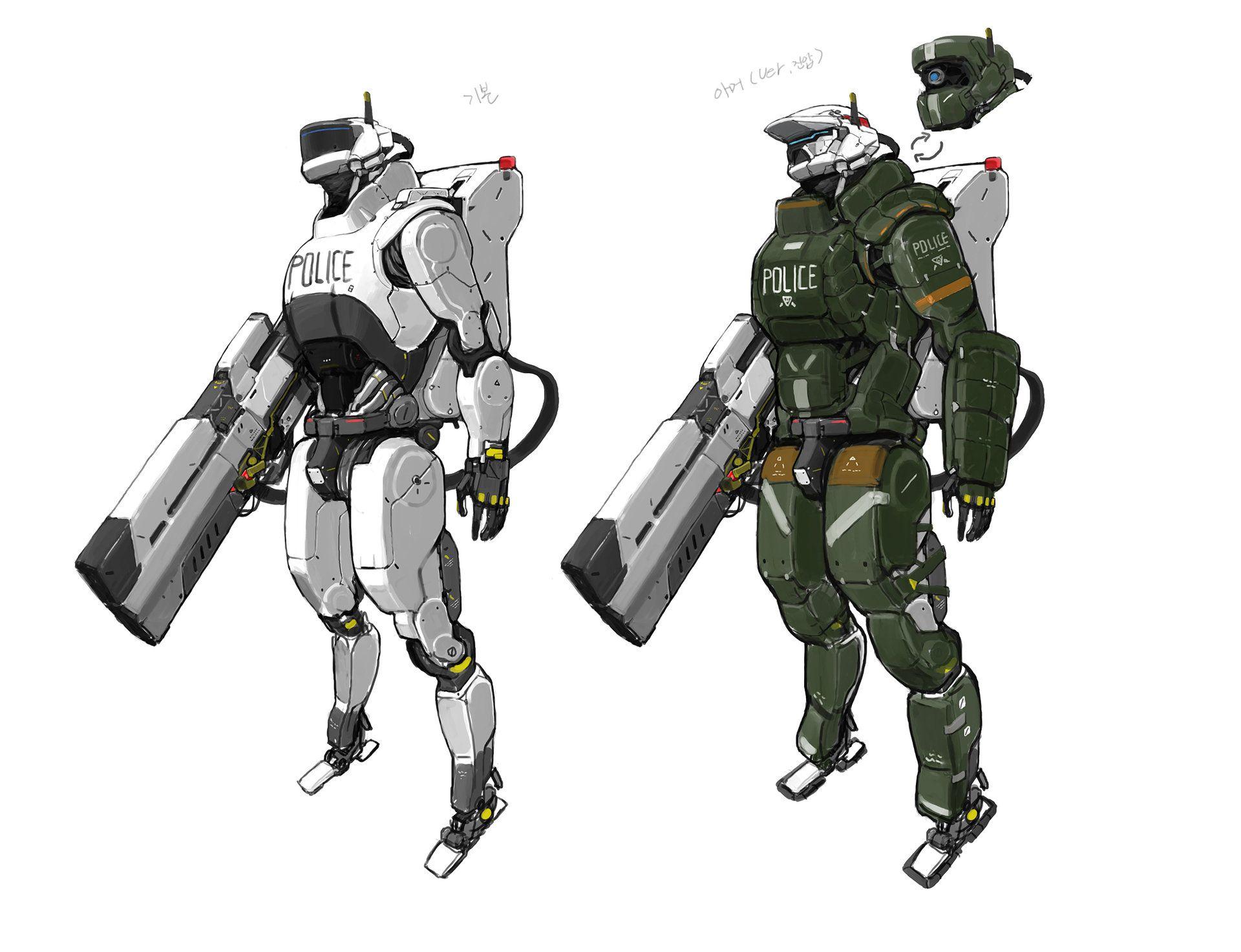 Artstation Police Mech Shinku Kim In 2019 Robot Concept