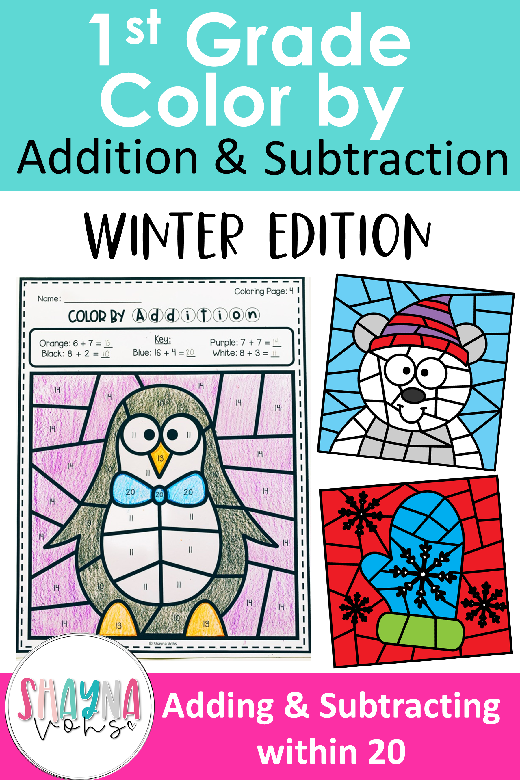 Color By Number Addition And Subtraction 1st Grade