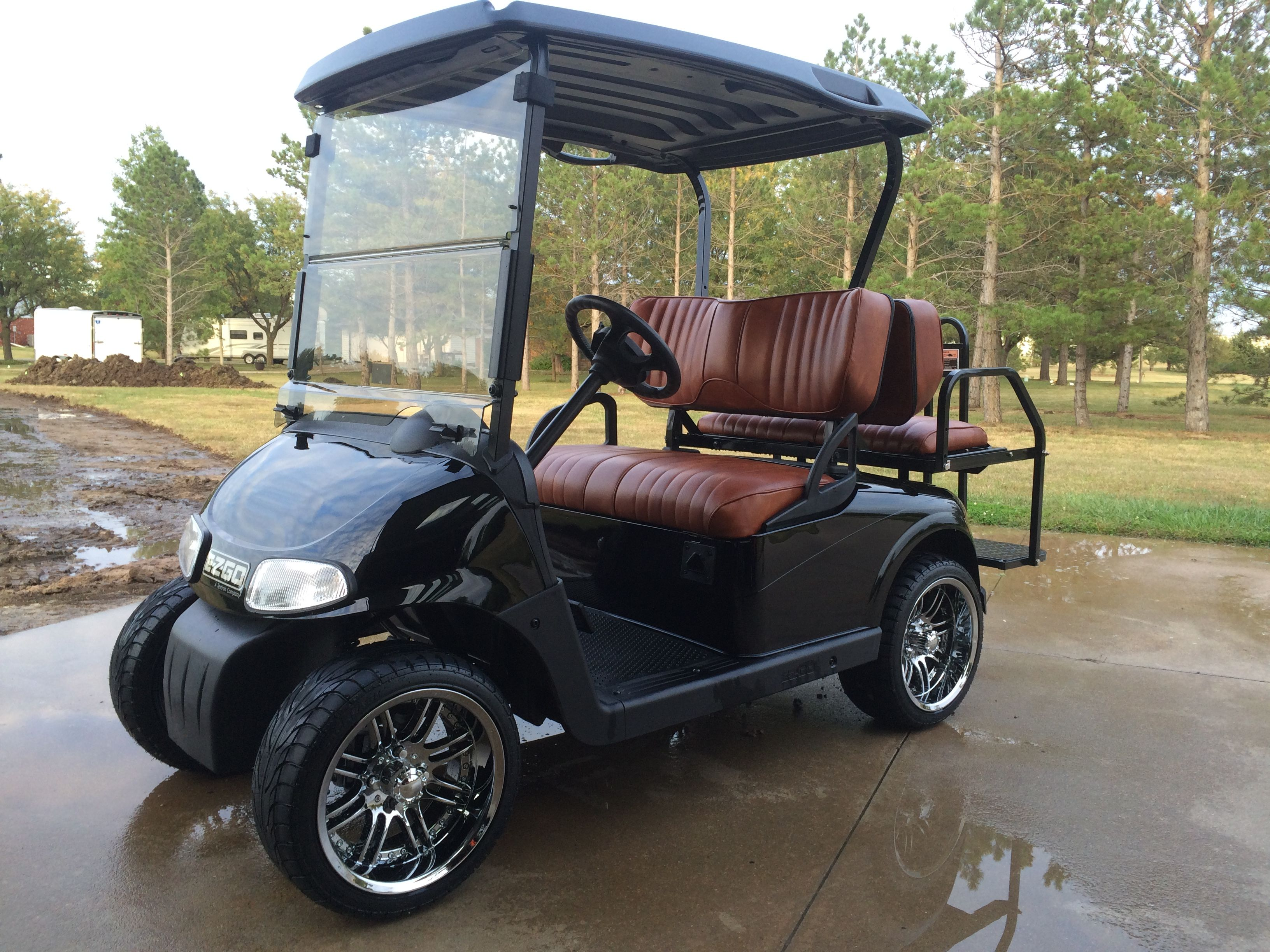 Black Golf Cart With Russet Brown Custom Seats Golf Carts Custom Golf Carts Golf Cart Seats