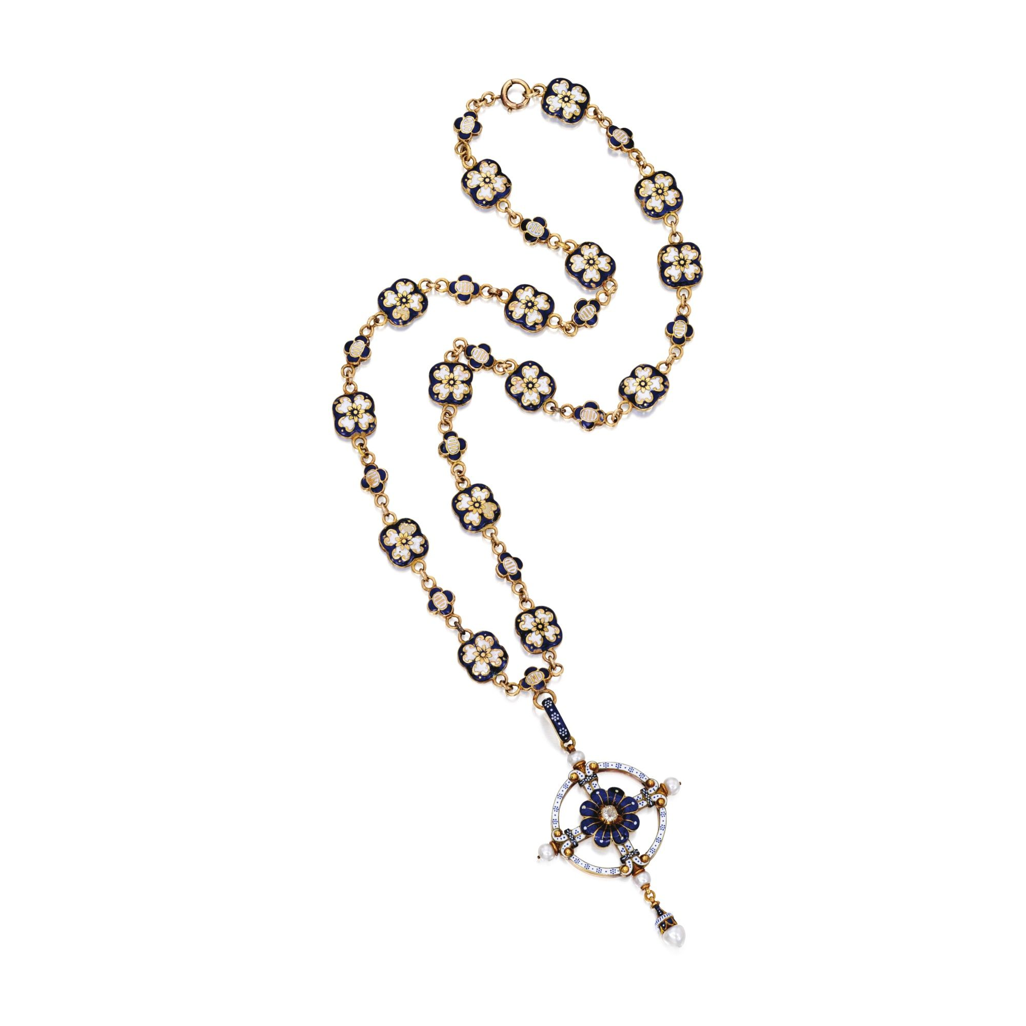 Gold enamel pearl and diamond pendantnecklace the floretshaped