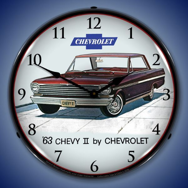 1963 Chevy II Nova Super Sport Lighted Wall Clock 14 x 14 Inches ...