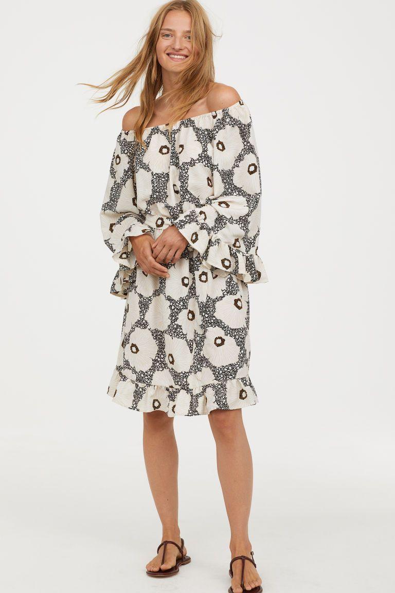 69433ee782ed1 Off-the-shoulder Dress - Black floral - Ladies