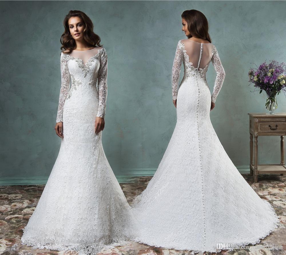 Vintage Full Lace Mermaid Wedding Dresses 2016 Sheer Scoop