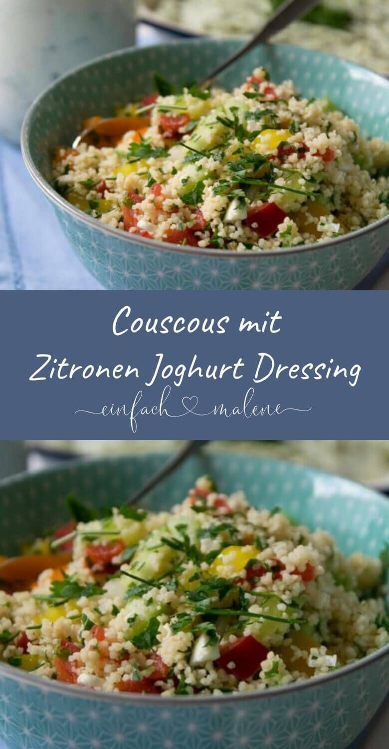 Perfect for grilling: Vegetarian couscous salad with lemon yoghurt dressing -  Super grilled side di...