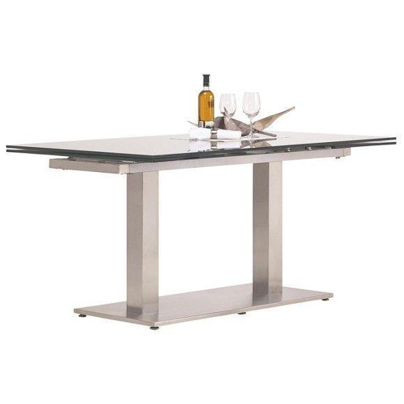 Sie lieben den reduzierten, cleanen Look und verwöhnen sich gern mit höchstem Komfort und bester Qualität? Dann wird dieser ausgefallene Esstisch von DIETER KNOLL zu Ihrem neuen Lieblingsmöbel! Im futuristischen Stil gehalten, besteht der Tisch aus einem robusten Metall-Gestell und einer Tischplatte aus grauem Glas. Die beiden Beine kommen in Form eckiger Säulen, die auf einer rechteckigen Bodenplatte sicheren Stand finden. Gebürsteter Edelstahl ist wohl das belieb