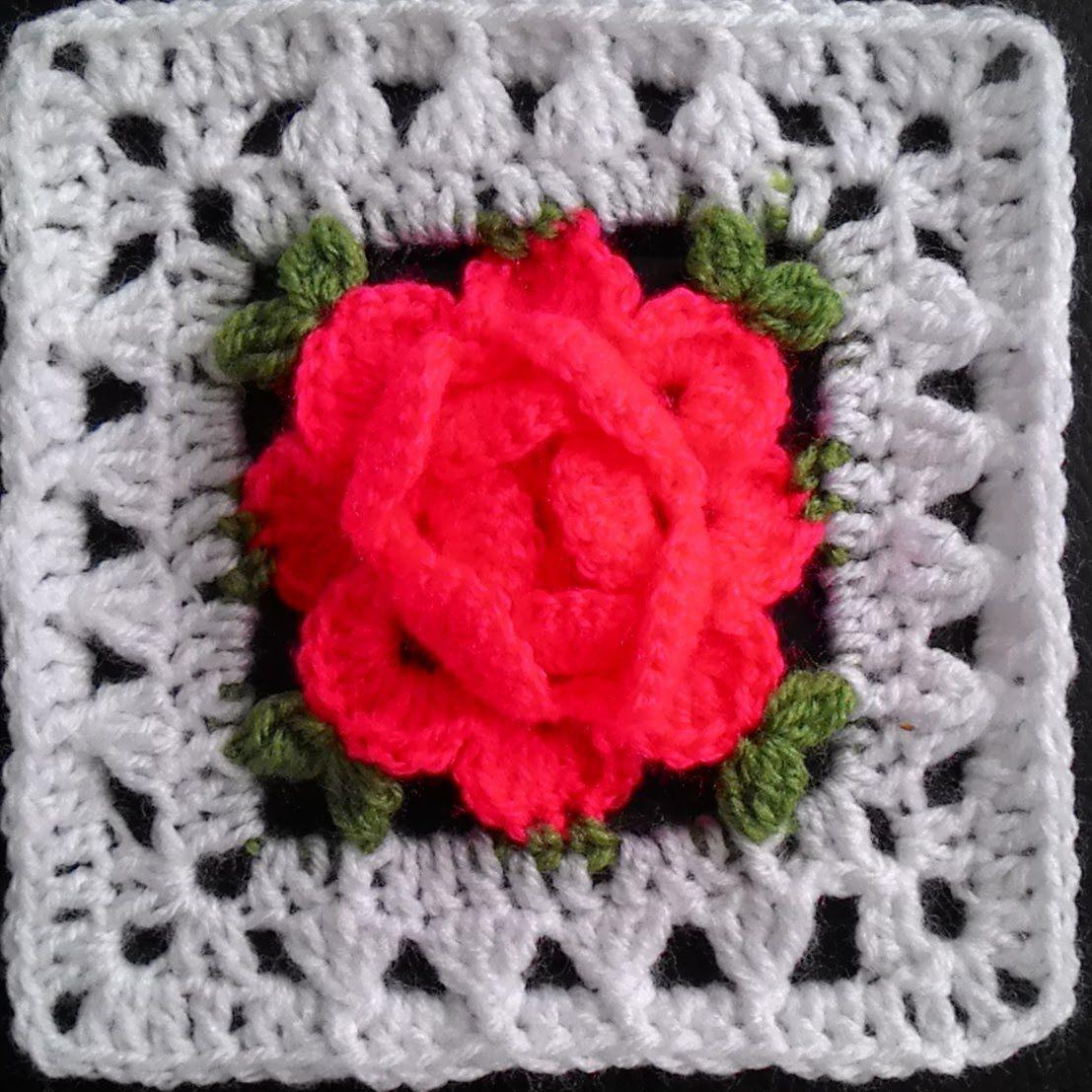 Crochet flower granny square/ Роза в квадрате крючком | crochet ...