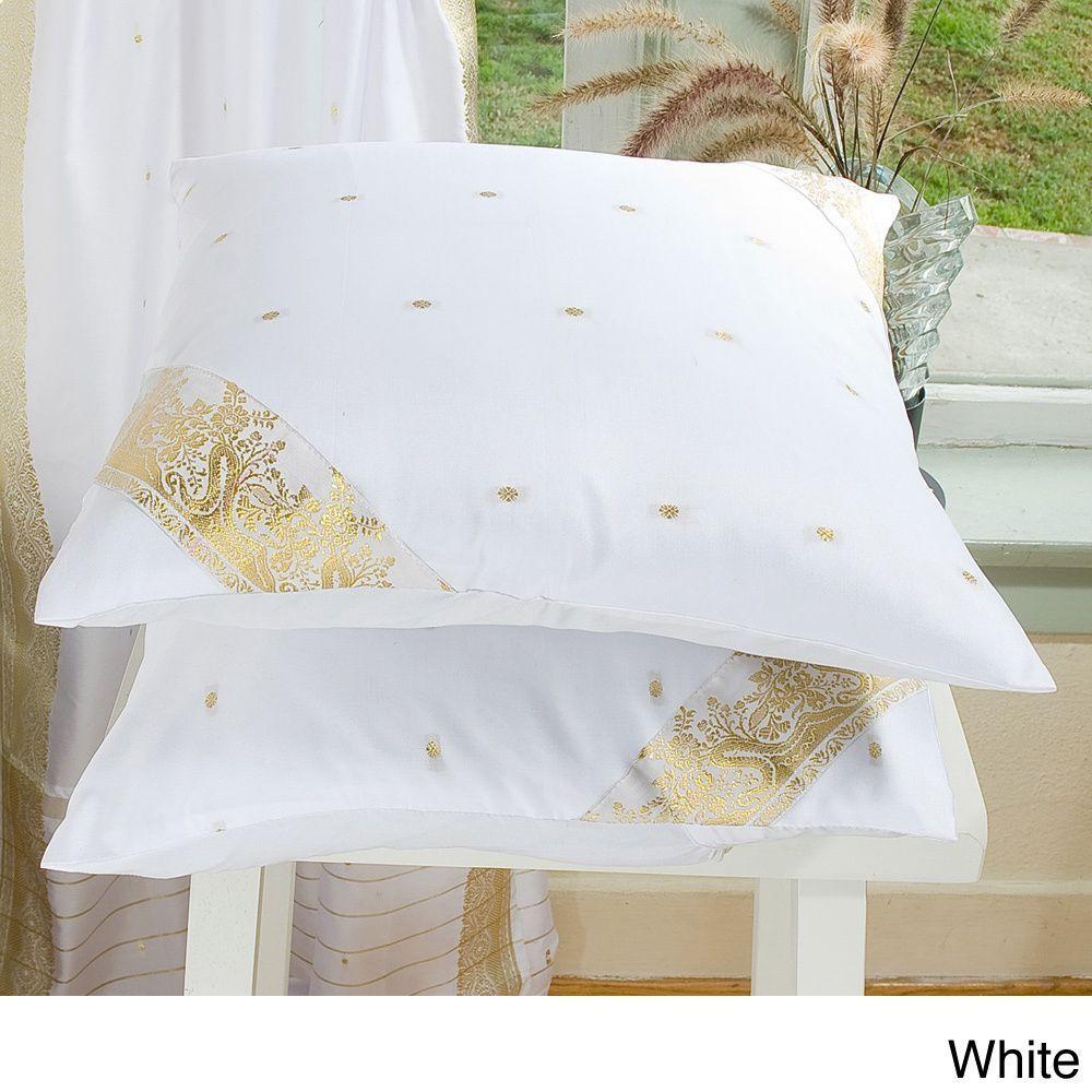 Set of two sari fabric decorative pillow covers india overstock