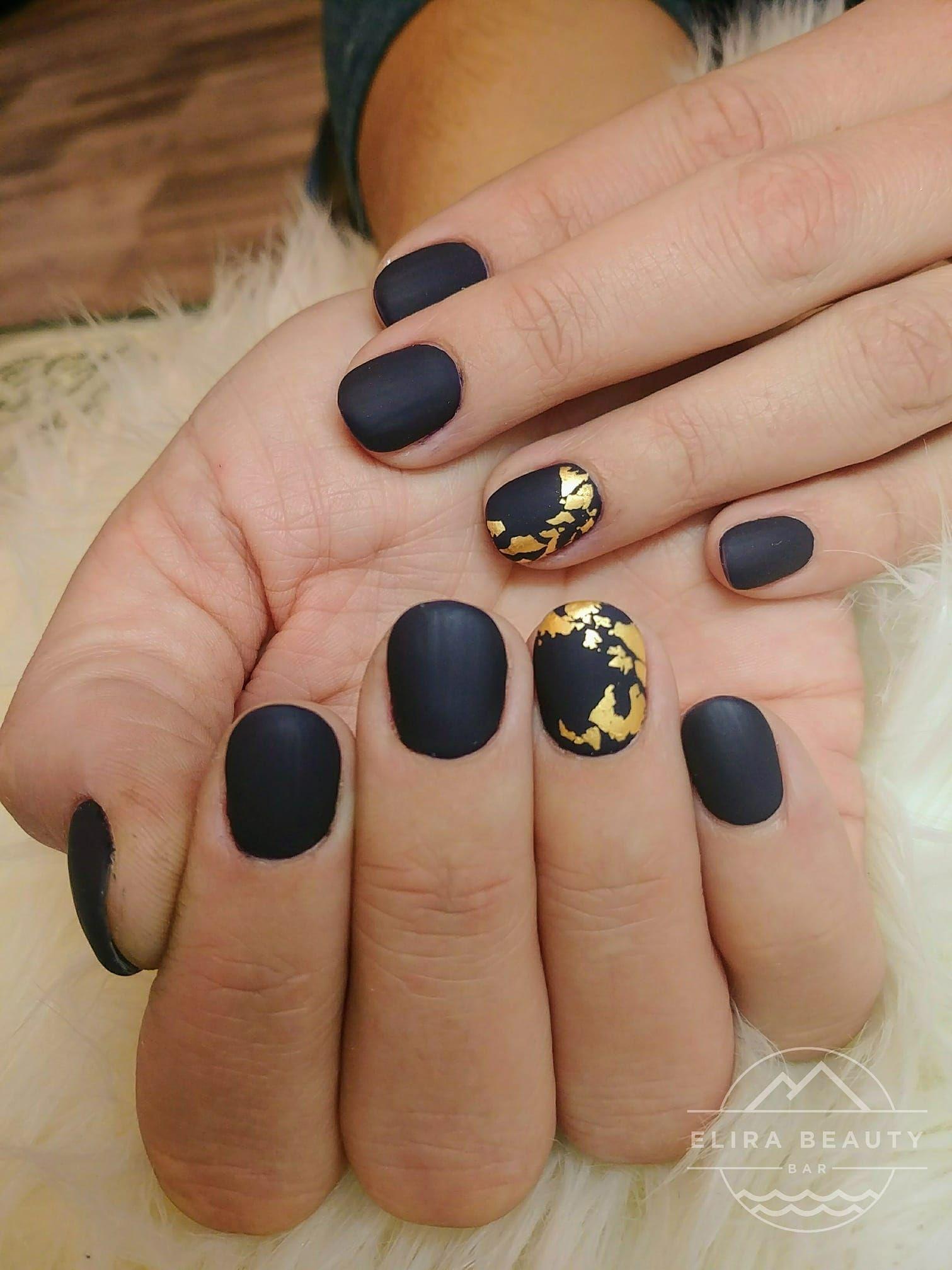 Matte Black Nails With Gold Flakes Black Gold Nails Nails Gold Nails
