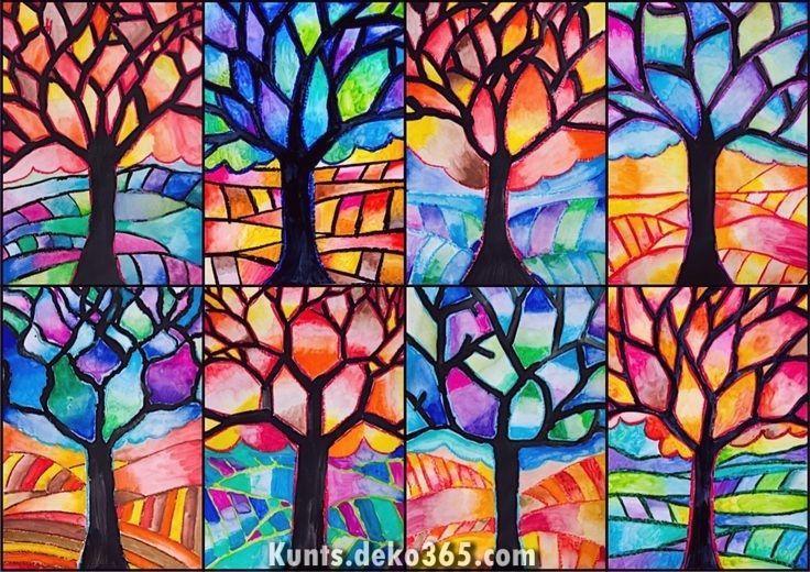 Legendar Baum Mit Warmen Und Kalten Farben Farben Kalten Warmen