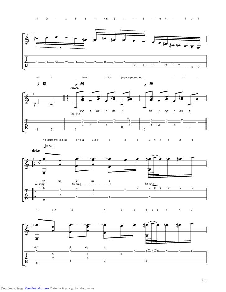 Capricho arabe guitar pro tab by Tarrega Francisco ...