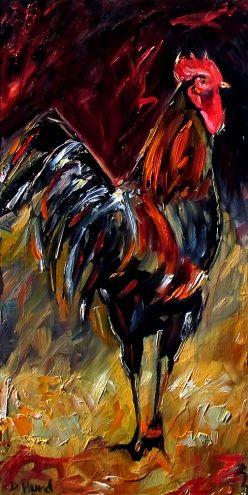 Rooster Art Oil painting farm animal paintings by Debra Hurd, painting by artist Debra Hurd