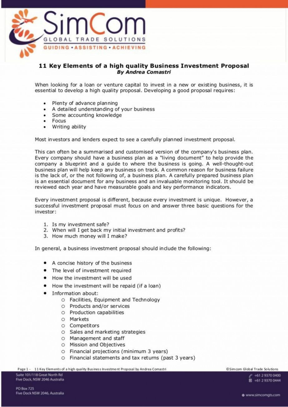 Trade Proposal Template Business Investment Business Proposal Template Proposal Templates